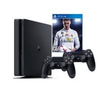 Sony Playstation 4 Slim 1TB с двумя джойстиками + игра FIFA 18